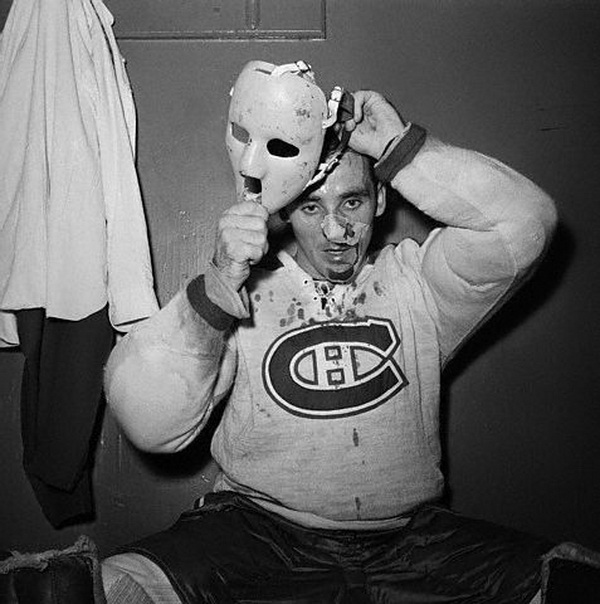 Jacques Plante Putting on Mask
